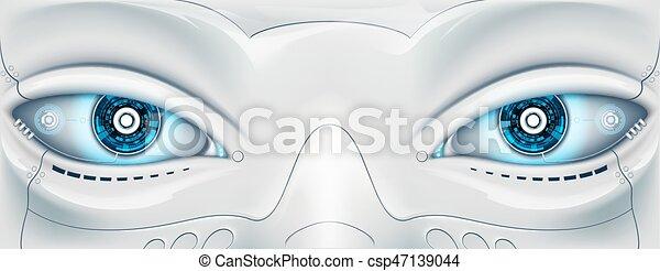 yeux, machine., figure, robot., vecteur, illus, futuriste, stockage - csp47139044