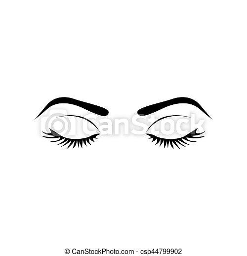 Favori Clipart Vecteur de yeux, silhouette, fermé, sourcil, femme  IQ38