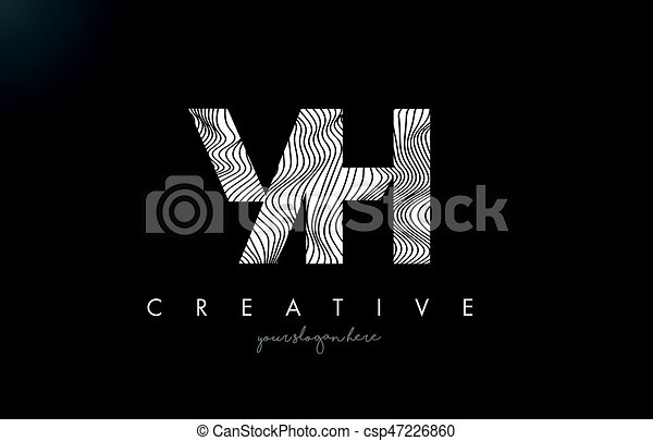 Line Design Clipart Free : Yh y h letter logo with zebra lines texture design vector clip