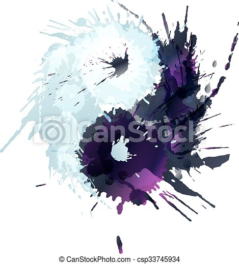 Yin and Yang made of colorful splashes - csp33745934