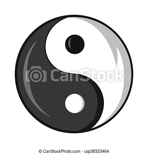 Yin And Yang Symbol Icon Cartoon Style Yin And Yang Symbol Icon In