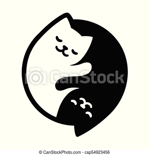 Yin Yang Cats Simple And Cute Black And White Cats In Yinyang Shape