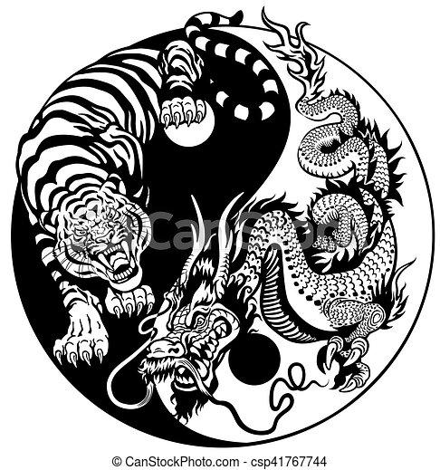 Yin Yang Dragon And Tiger Dragon And Tiger Yin Yang Symbol Of