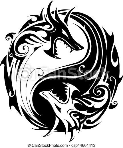 yin yang dragons yin yang tattoo symbol shaped as two Black and White Dragon Head Dragon Ball Z Black and White
