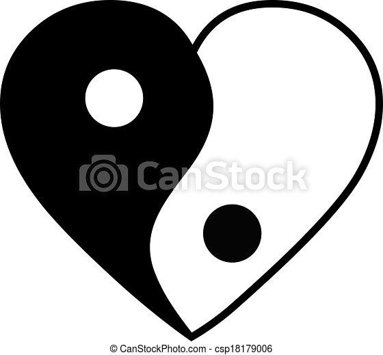 Yin yang heart - csp18179006