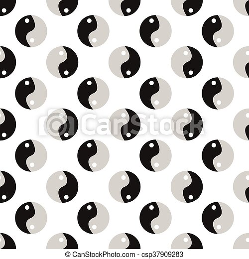 Yin Yang icon sign. Seamless pattern with geometric texture. Vector illustration - csp37909283
