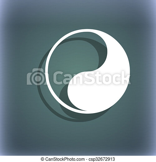 Yin Yang Icon Symbol On The Blue Green Abstract Background With