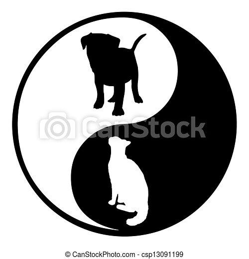 Yin Yang Pes Kocka Silueta Znak Yin Pes Ilustrace Kocka Yang