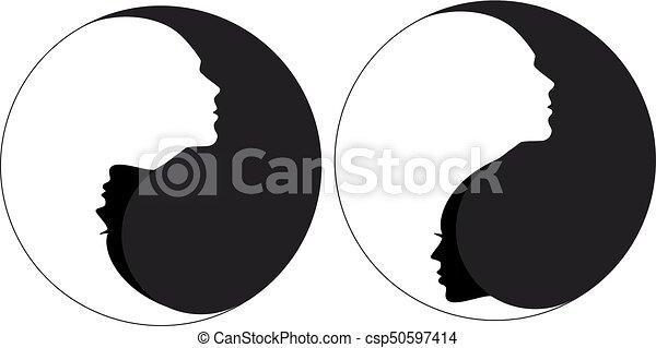 Yin yang sign man and woman, vector - csp50597414