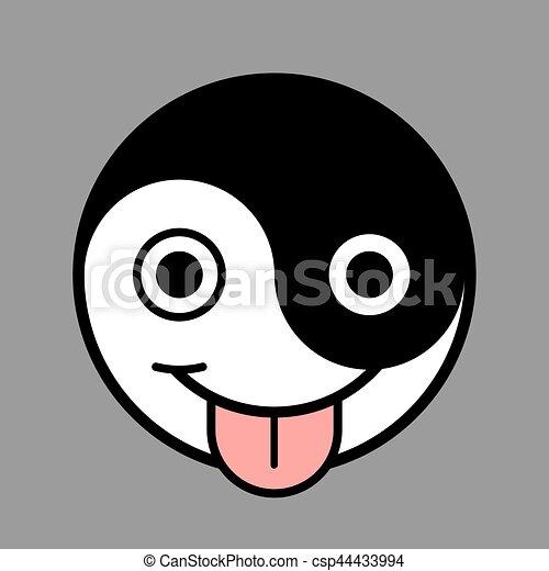 Yin yang smiley dessin anim figure smiley projection sur yin gris illustration figure - Dessins de smiley ...