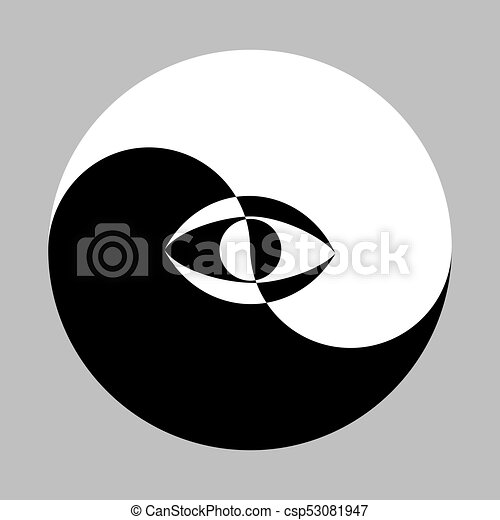 Yin Yang Symbol And Eye All Seeing Eye In The Center Of The