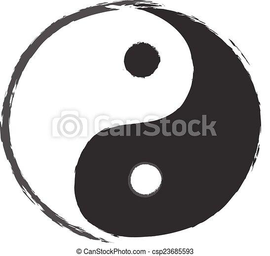 Yin Yang Symbol Drawing - csp23685593