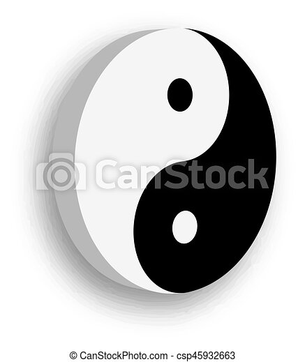 Yin Yang Symbol Icon In Black And White 3d Vector Object Clip
