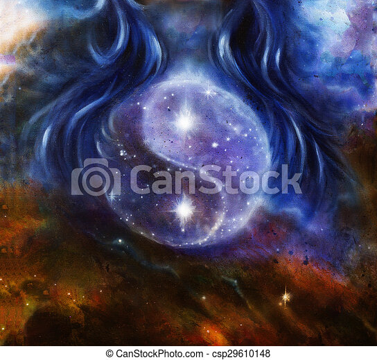 Super Yin yang symbol in space with stars, about woman hair, original  UB78