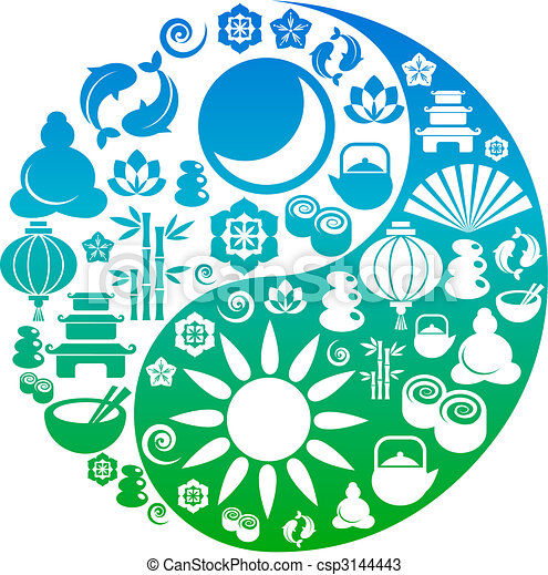 Yin Yang symbol made from Zen icons - csp3144443