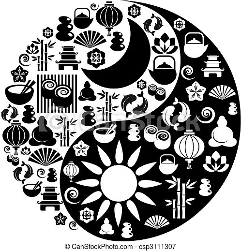 Yin Yang symbol made from Zen icons - csp3111307