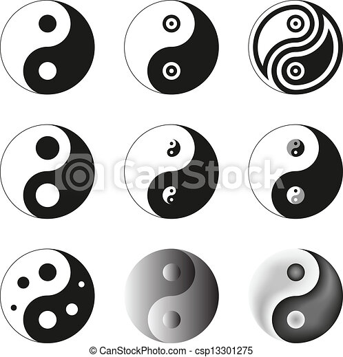 Yin Yang Symbol Of Balance And Harmony Set Vector Illustration