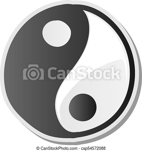 Yin Yang Symbol Of Harmony And Balance Sticker Vector Illustration