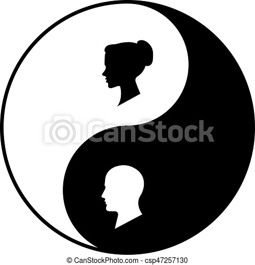 Yin Yang Symbol Of Harmony And Balance Between Male And Vectors