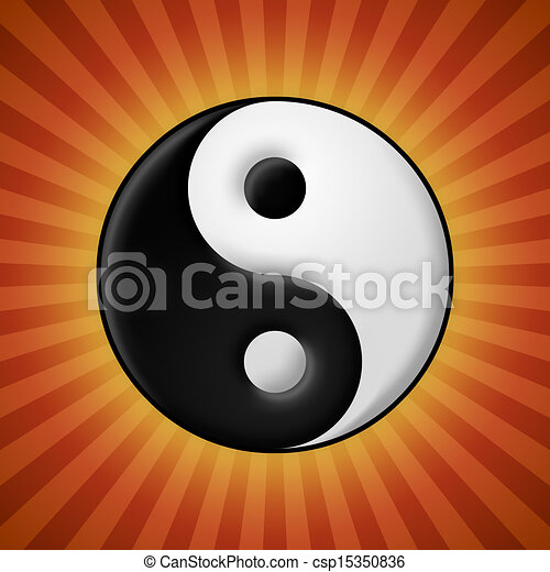 Yin yang symbol on red rays background - csp15350836