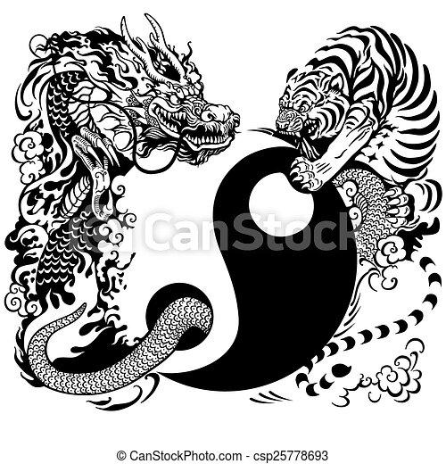 yin yang with dragon and tiger - csp25778693