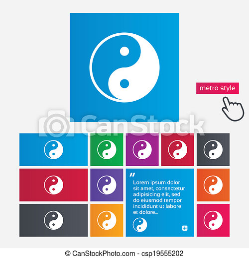 Ying yang sign icon. Harmony and balance symbol. - csp19555202