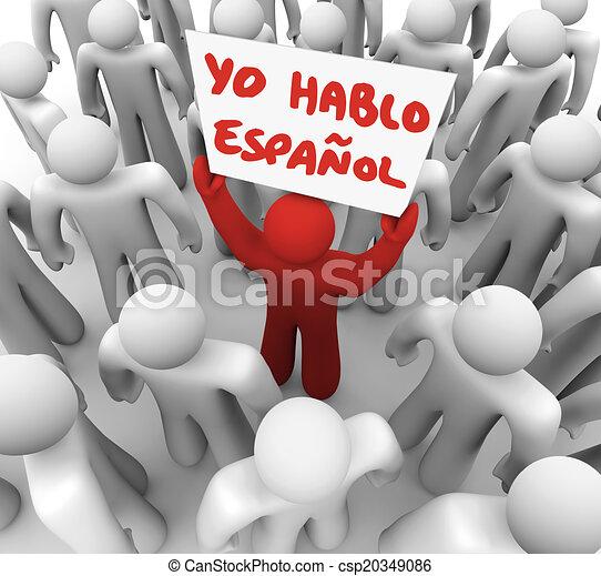 Yo Hablo Espanol Person Holding Sign Spanish Speaker - csp20349086