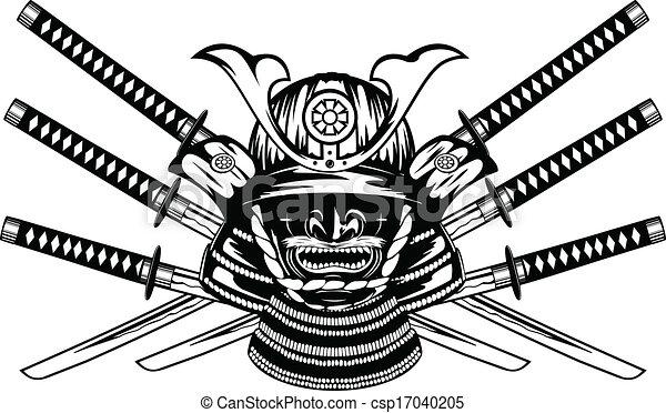 yodare-kake, katanas, samouraï, menpo, traversé, casque - csp17040205