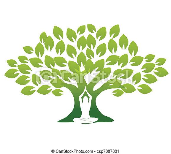 Yoga y árbol - csp7887881
