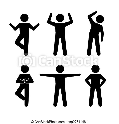 yoga and fitness positions black silhouettes human vector illustration rh canstockphoto com human vector silhouette human vector free download