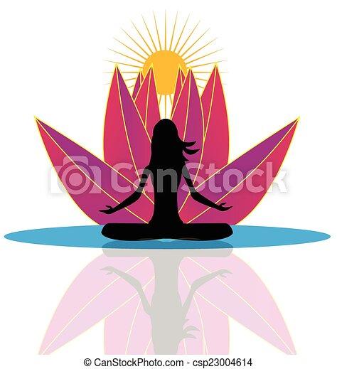 Yoga  and  lotus flower logo - csp23004614