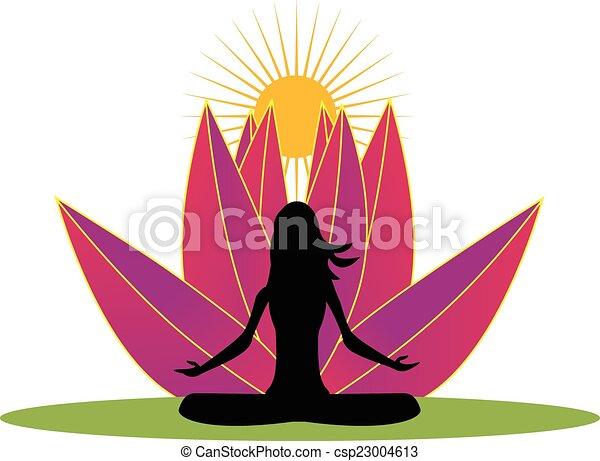Yoga and pink lotus flower logo - csp23004613
