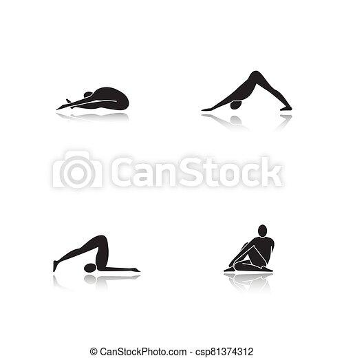 Yoga asanas drop shadow black glyph icons set - csp81374312