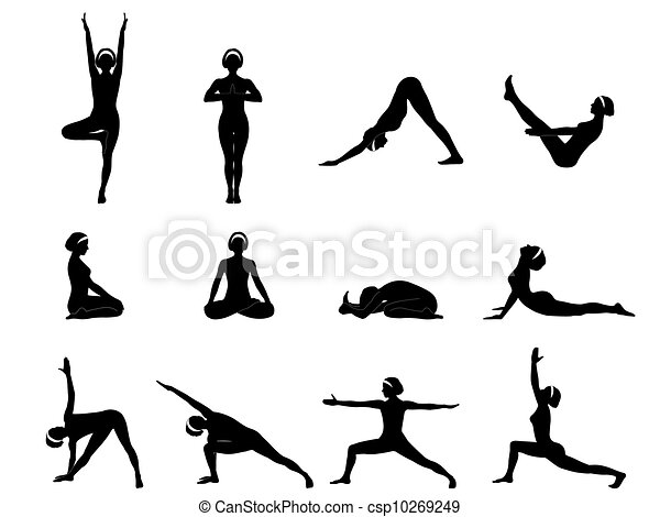 Yoga Asanas A Set Of Twelve Vector Illustration