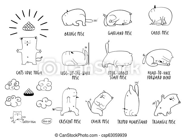Yoga Cat Line Set Yoga Cat Vector Funny Set Of Basic Poses Lineart White Backdrop