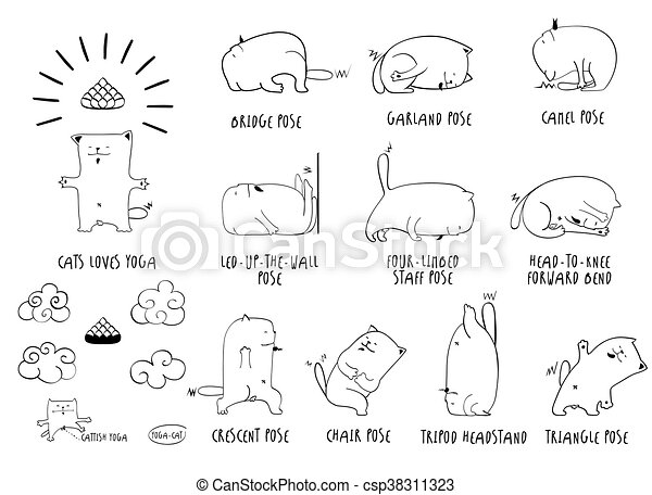 Yoga Cat Set Vector Funny Of Basic Poses Lineart