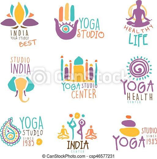 Yoga center set of colorful promo sign design templates with ...