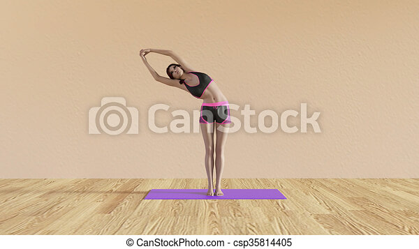 yoga class half moon pose illustration with female instructor