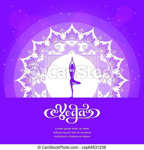Yoga Classes Banner Yoga Studio Logo With Mandala Design Banner Design For Yoga Classes Yoga Spa Oriental Practice Theme