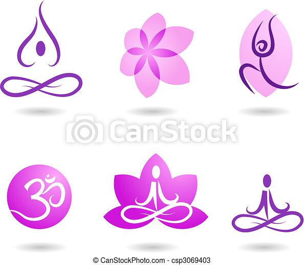 yoga, collezione, icone - csp3069403