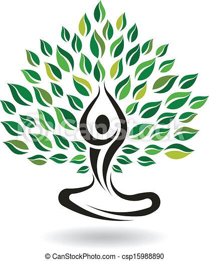 Yoga Easy Pose Tree, Logo Vector - csp15988890