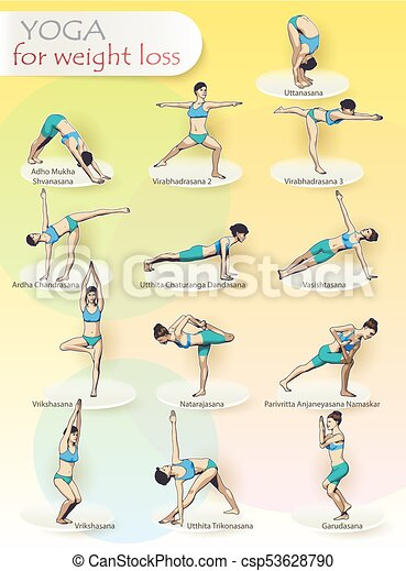 yoga for weight loss creative illustration  poster yoga