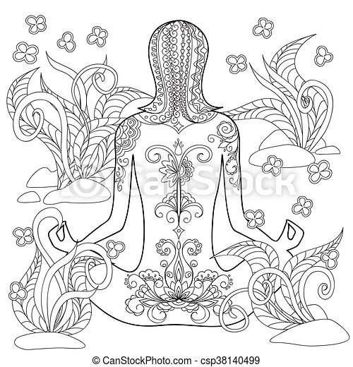 Yoga Girl Hand Drawn Decorated Tattoo Girl In The Tangled Flowers Image For Relaxation Adult And Children Coloring Books