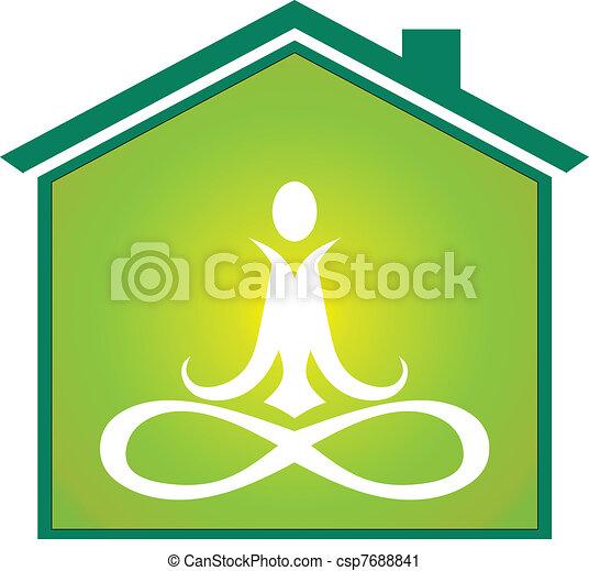 Yoga house icon - csp7688841