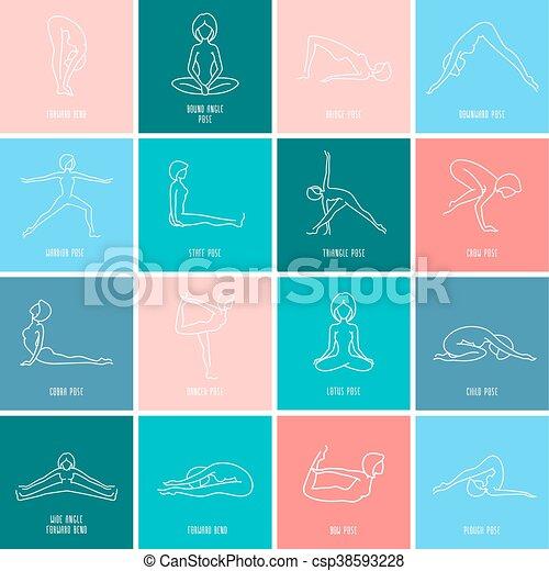 yoga icon linear set yoga pose flat line icons set