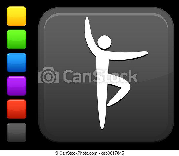 yoga icon on square internet button - csp3617845