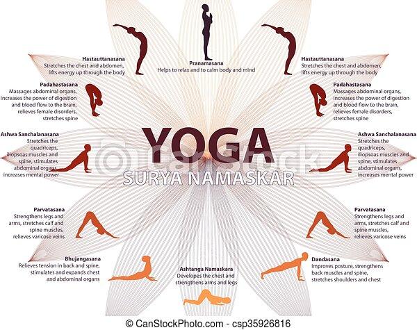yoga infographics surya namaskar sequence salutation to