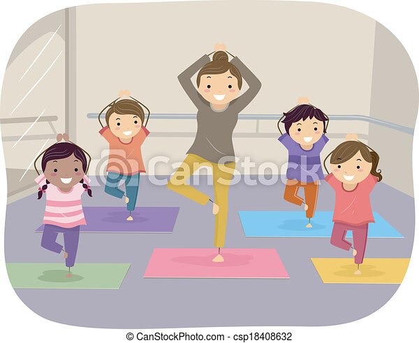 Yoga Kids Illustration Of Learning Through The Help An