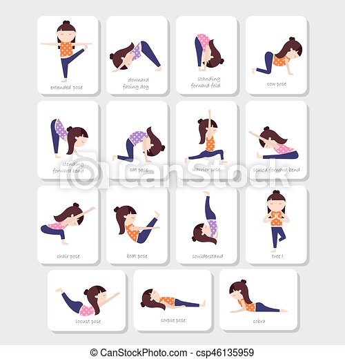 Yoga Kids Poses Vector Collection Set Of For