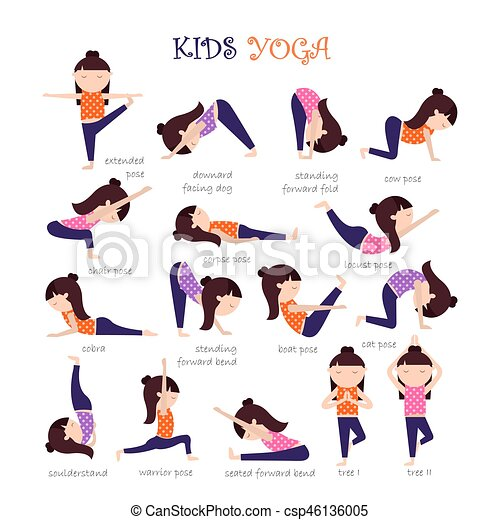 Yoga Kids Poses Vector Yoga Kids Collection Set Of Yoga Poses For Children In Flat Style Gymnastics And Healthy Lifestyle